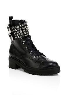 SCHUTZ Jewelled Leather Combat Boots