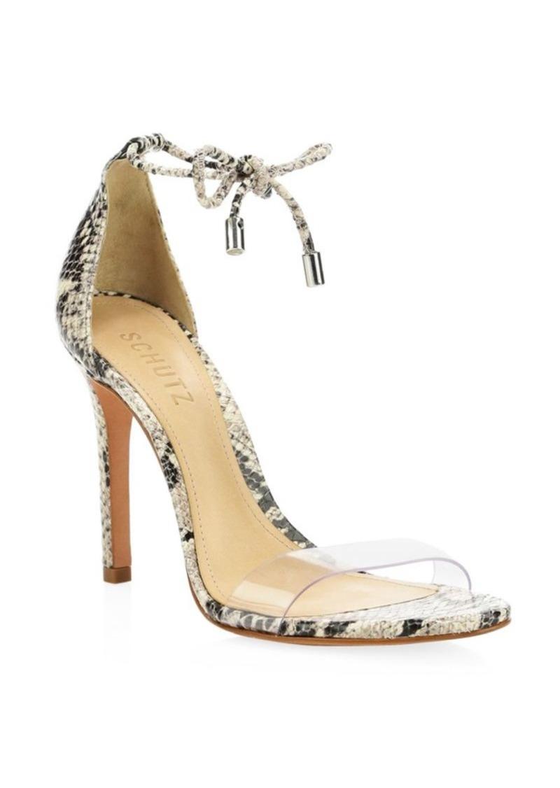 SCHUTZ Josseanna Ankle-Tie Snakeskin-Embossed Leather Sandals