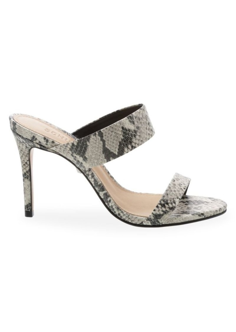 SCHUTZ Leia Snakeskin-Embossed Leather Mules
