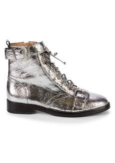 SCHUTZ Magda Crushed Metallic Leather Combat Boots