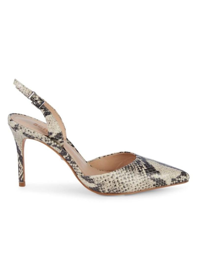 SCHUTZ Maysha Embossed-Snakeskin Leather Slingback High Heels