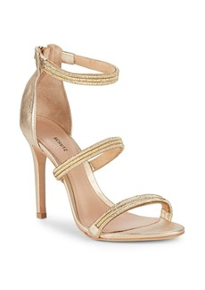 SCHUTZ Dyane Metallic Ankle-Strap Sandals