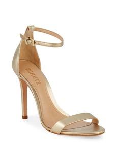 SCHUTZ Metallic Leather Ankle-Strap Sandals
