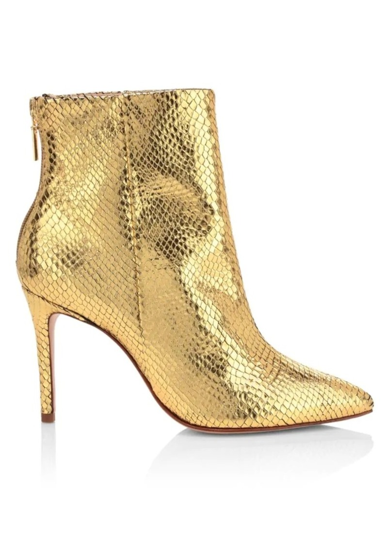 SCHUTZ Michela Lizard-Embossed Metallic Leather Ankle Boots