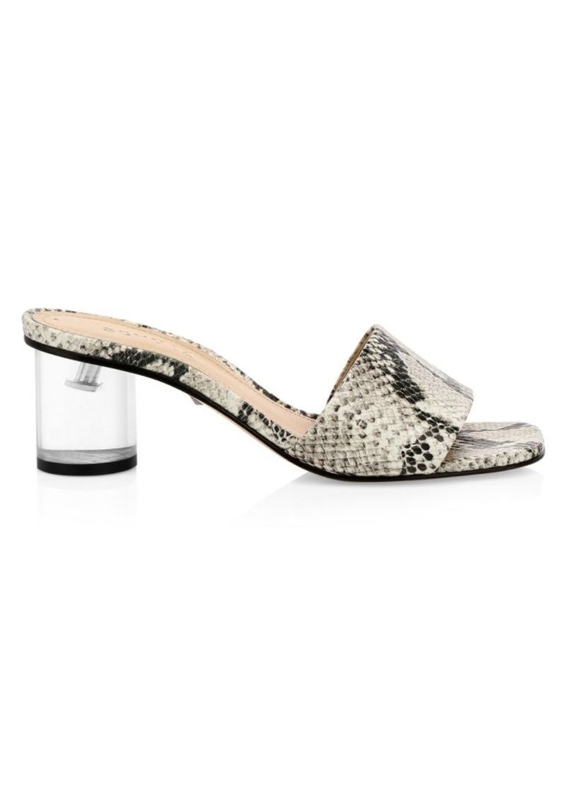 Mirlande Clear-Heel Snakeskin-Embossed Leather Mules