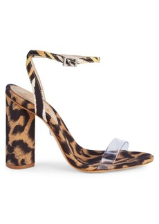 SCHUTZ Queen Leopard Print Clear Strap Sandals