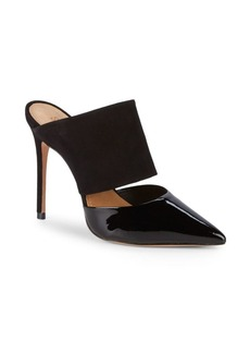 SCHUTZ Quereda Patent Leather & Suede Stiletto Mules