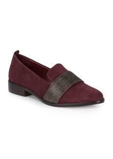 SCHUTZ Adrian Chain Suede Block Heel Loafers