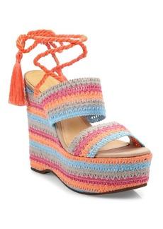 Schutz Bendy Crochet Lace-Up Wedge Platform Sandals