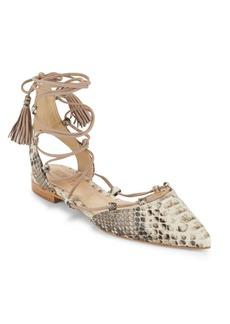 Schutz Billie Embossed Tie-Up Shoes