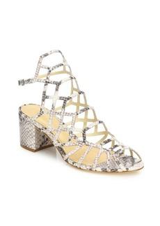 SCHUTZ Bollie Python-Embossed Leather Caged Block Heel Sandals