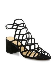 SCHUTZ Bollie Suede Caged Block Heel Sandals