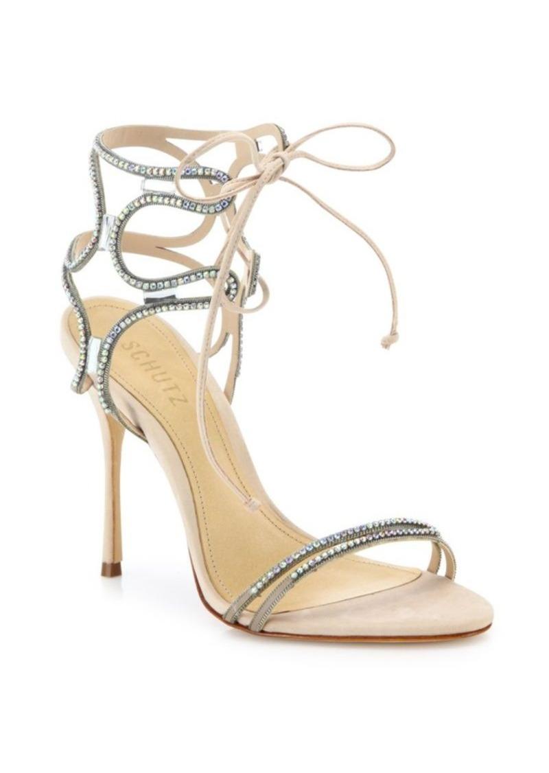 Schutz Cristen Crystal-Embellished Leather Sandals