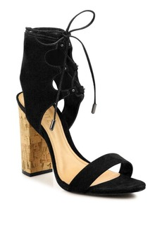 Schutz Cruz Lace-Up Suede Block Heel Sandals