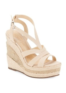 Schutz Daenerys Tanino Leather Wedge-Heel Sandals