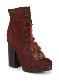 SCHUTZ Dalenna Rabbit Fur-Trimmed Leather Booties