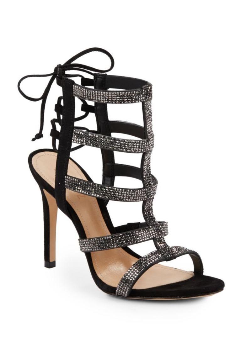 2dad31edd0 SCHUTZ Schutz Emma Rhinestone-Embellished Suede Cage Sandals | Shoes