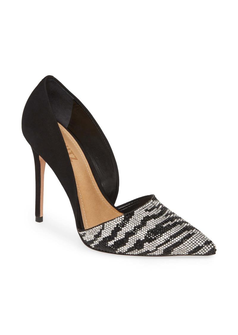 Schutz Irina Crystal Zebra Stripe Pointed Toe Pump (Women)