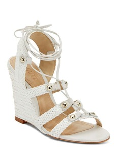 Schutz Jayne Woven Leather Lace-Up Wedge Sandals