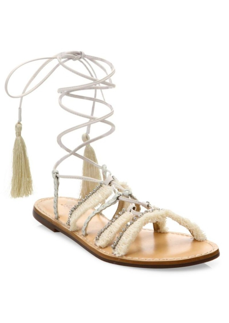 SCHUTZ Jolina Embellished Fringe Lace-Up Flat Sandals