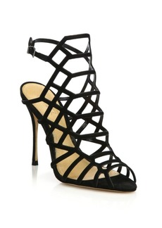 SCHUTZ Juliana Suede Caged Sandals