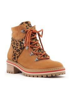 Schutz Keida Leopard Print Genuine Calf Hair Trim Hiking Boot (Women)