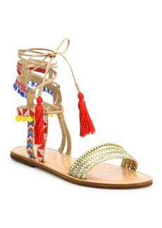 SCHUTZ Lannister Embroidered Lace-Up Festival Sandals