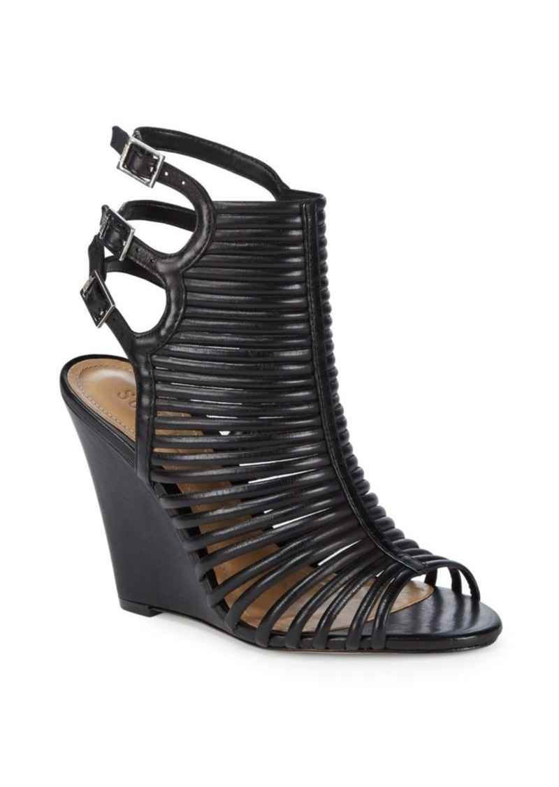 4a44e5fd18 SCHUTZ Loreto Caged Leather Wedge Sandals