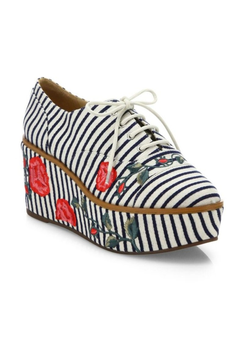 Schutz Mila-Grace Striped & Embroidered Leather Trimmed Oxfords