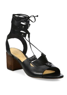 SCHUTZ Monik Leather Lace-Up Block Heel Sandals