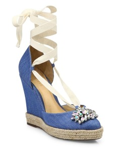 Schutz Ninalena Espadrille Lace-Up Wedges