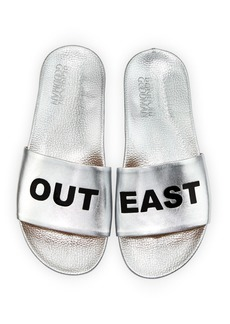 Schutz Out East Metallic Slide Sandal
