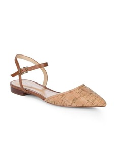 Schutz Point Toe Leather Ankle-Strap Flats