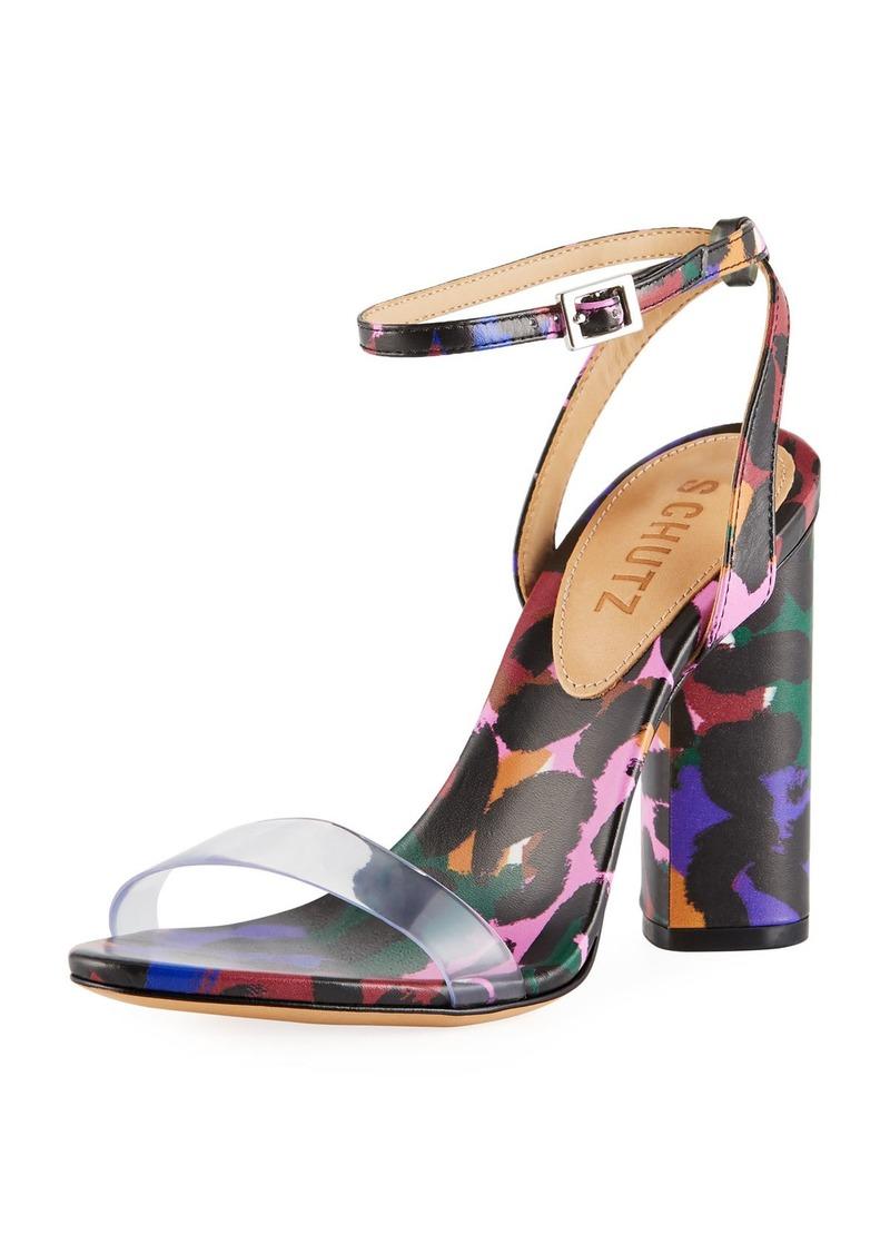 Schutz Quelen Printed Strappy Sandals