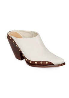 SCHUTZ Shareef Block Heel Leather Mules