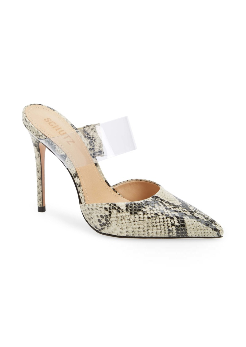 Schutz Sionne Clear Strap Pointed Toe Mule (Women)