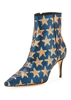 Schutz Star Sequined Point-Toe Boot