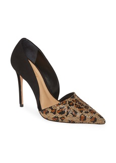 Schutz Totia Crystal Leopard Pointed Toe Pump (Women)