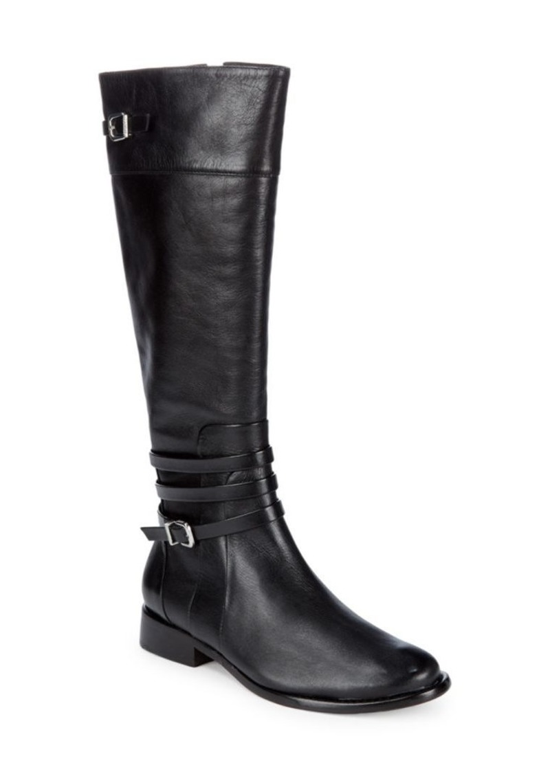 SCHUTZ Wellington Belted Strap Leather Boots