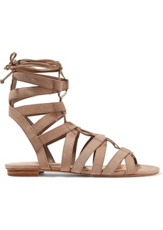 Schutz Woman Berlina Lace-up Nubuck Sandals Taupe