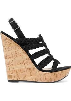 Schutz Woman Braided Faux Suede And Cork Wedge Sandals Black