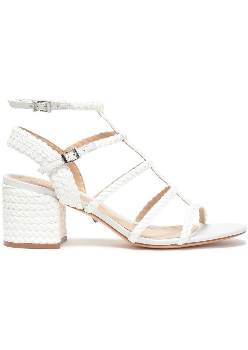 Schutz Woman Braided Leather Sandals White