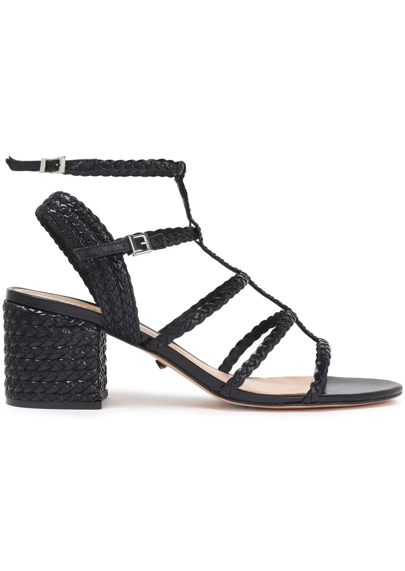 Schutz Woman Braided Leather Sandals Black