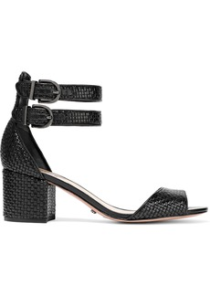 Schutz Woman Buckled Woven Leather Sandals Black