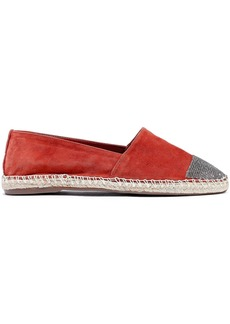 Schutz Woman Cherie Crystal-embellished Suede Espadrilles Tan