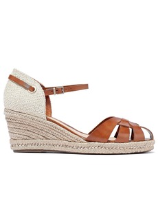 Schutz Woman Cutout Leather And Canvas Wedge Espadrille Sandals Tan
