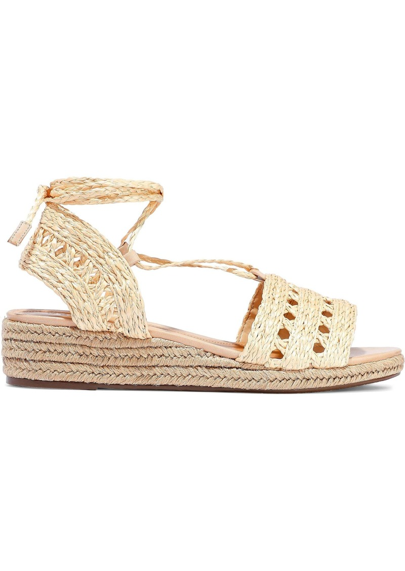 Schutz Woman Cutout Woven Straw Wedge Espadrille Sandals Beige