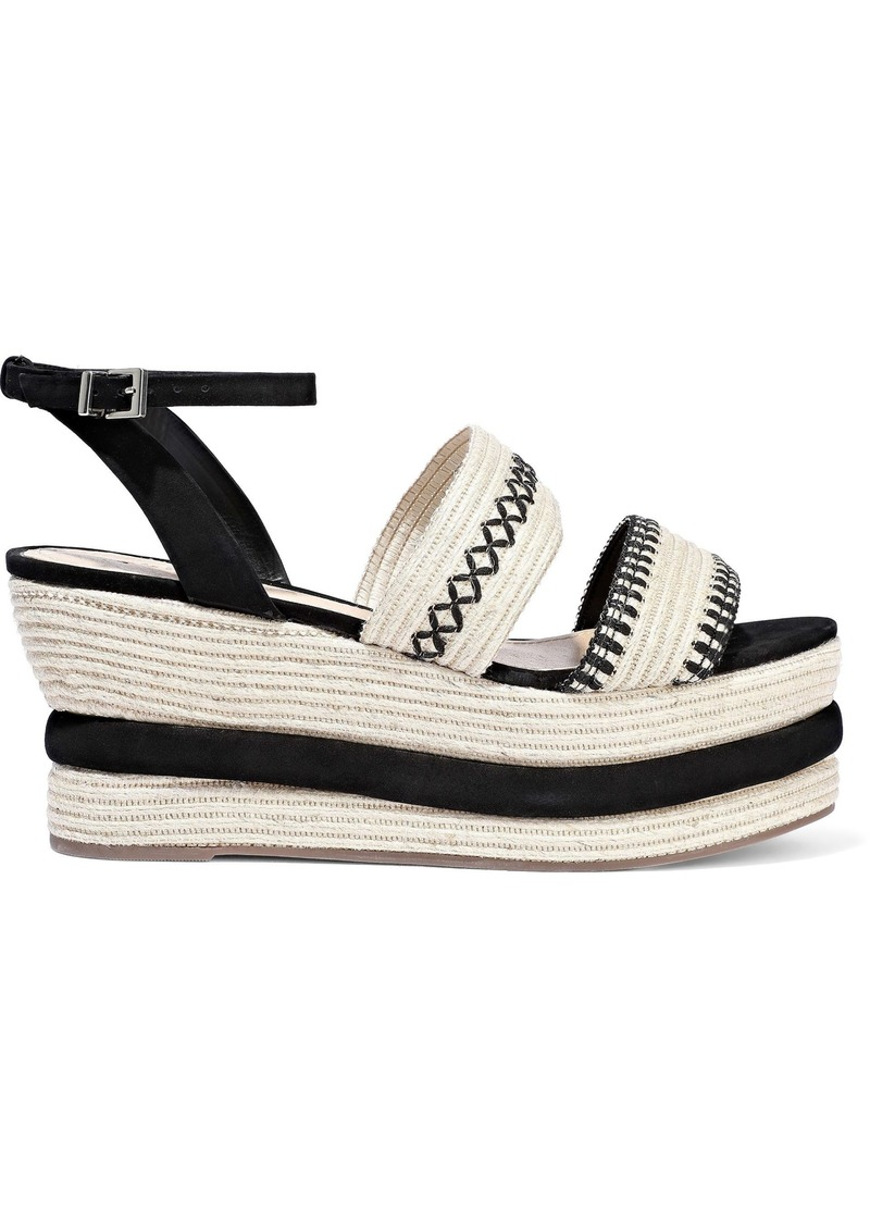 Schutz Woman Denes Suede-trimmed Embroidered Straw Platform Espadrille Sandals Black
