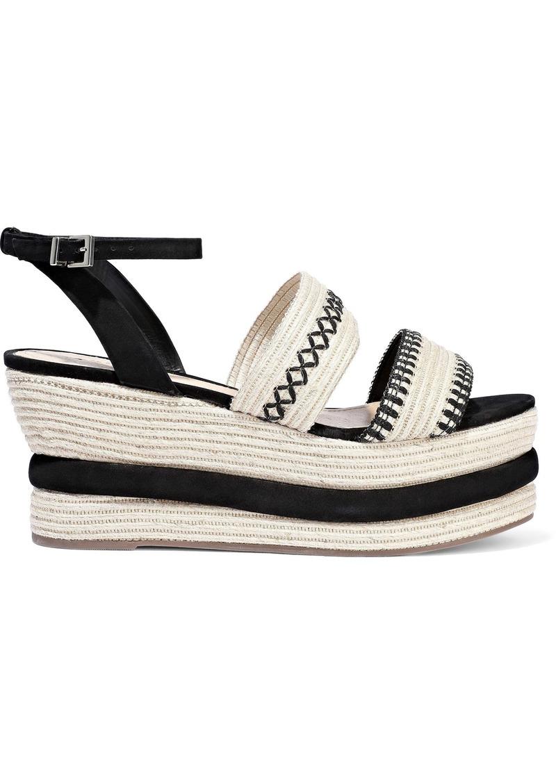 Schutz Woman Denes Suede-trimmed Embroidered Straw Platform Espadrille Sandals Black