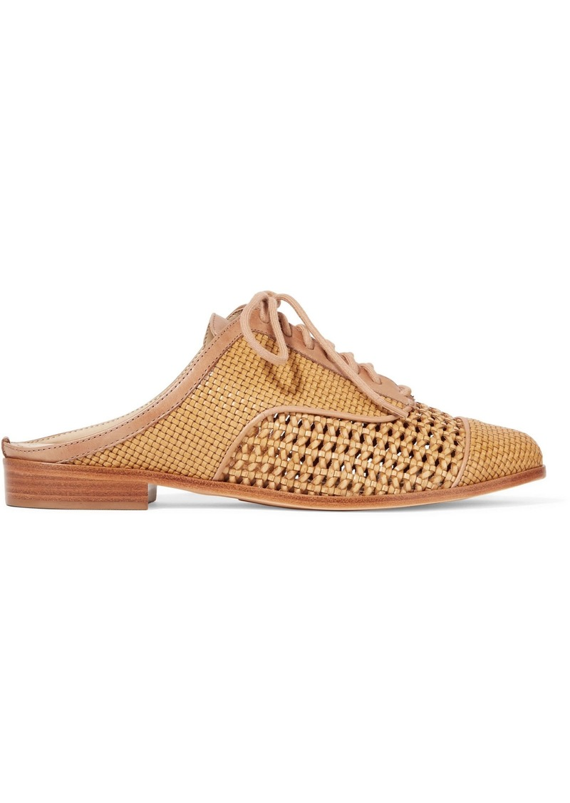 Schutz Woman Dracena Woven Leather Slip-on Brogues Tan